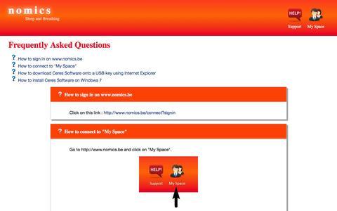 Screenshot of FAQ Page nomics.be - Nomics ∴ Nomics FAQ - captured Dec. 5, 2015
