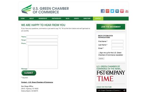 Screenshot of Contact Page usgreenchamber.com - Contact | U.S. Green Chamber of Commerce | Cities for Change - captured Oct. 3, 2014