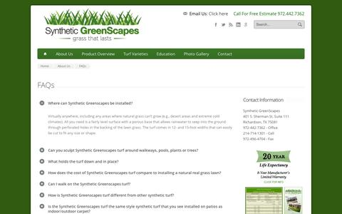 Screenshot of FAQ Page syntheticgreenscapes.com - FAQs - Synthetic GreenScapes - captured Sept. 30, 2014