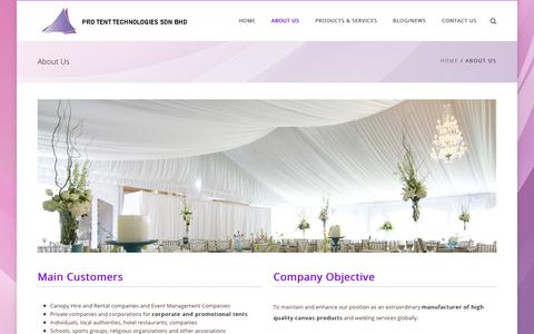 Screenshot of About Page ecbogaerts.com - Canvas Supplier Malaysia | Pro Tent Technologies - captured Dec. 14, 2018
