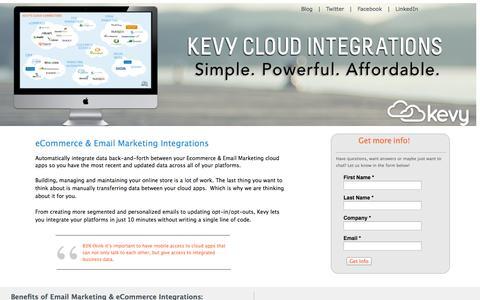 Screenshot of Landing Page kevy.com - eCommerce-Email Marketing Integrations - captured Oct. 27, 2014