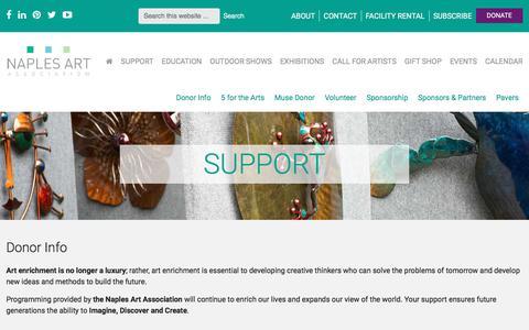 Screenshot of Support Page naplesart.org - Support - Naples Art Association | Naples Art Association - captured Nov. 17, 2017