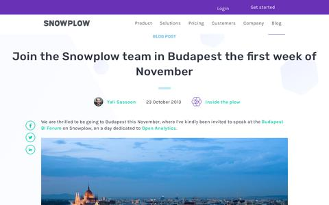 Screenshot of Team Page snowplowanalytics.com - Join the Snowplow team in Budapest the first week of November - captured Feb. 10, 2020