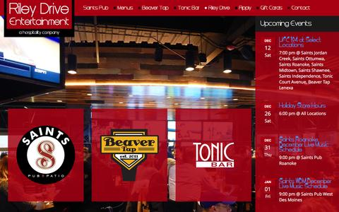Screenshot of Home Page rileydrive.com - Saints Pub + Patio | Tonic Bar | Beaver Tap - captured Dec. 11, 2015