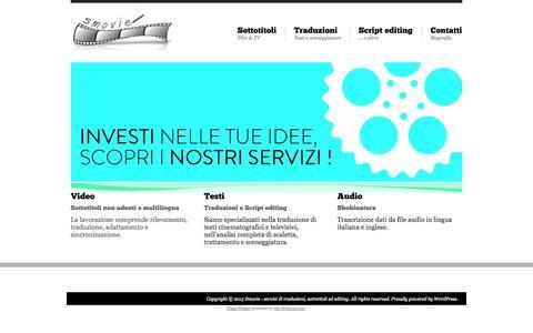 Screenshot of Home Page smovie.it - Smovie – servizi di traduzioni, sottotitoli ed editing - Servizi di traduzioni, sottotitoli ed editing - captured Oct. 7, 2014