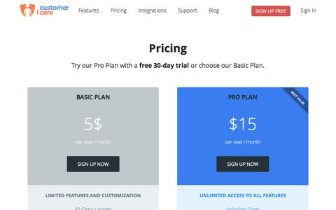 Screenshot of Pricing Page customericare.com - CustomerIcare Live Chat Software | Pricing - captured July 18, 2016
