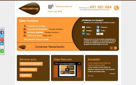 Screenshot of Home Page recobrum.es - Cobro de morosos e impagados - captured Sept. 30, 2014