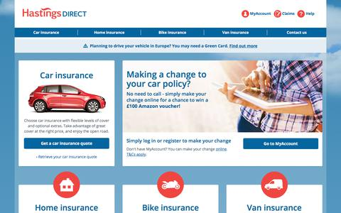 Screenshot of Home Page hastingsdirect.com - Hastings Direct | Car, Van, Bike and Home Insurance - captured Oct. 11, 2019