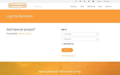 Screenshot of Login Page burnhamnationwide.com - Burnham Login - captured Nov. 23, 2016