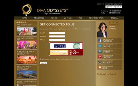 Screenshot of Signup Page divaodysseys.com - GET CONNECTED TO US | Diva Odysseys - Sign Up for News - captured June 4, 2017