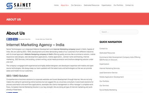 Screenshot of About Page sainettechnologies.com - Sainet - Internet Marketing Company In Delhi India - captured Dec. 20, 2015