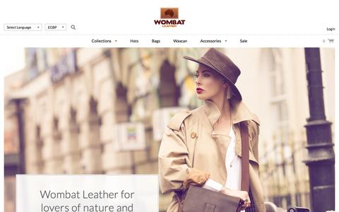 Screenshot of Home Page wombatleather.co.uk - Australian Leather Hats, Rugged Mens Wallets, Waxed Canvas Bags - captured Jan. 29, 2017
