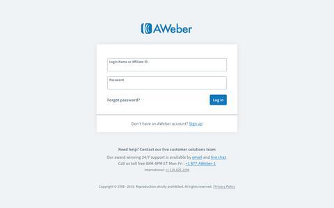 Screenshot of Login Page aweber.com - Email Marketing Software | Email Marketing Newsletters from AWeber - captured June 21, 2019
