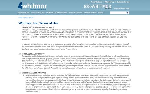 Screenshot of Terms Page whitmor.com - Terms of Use – Home Organization & Storage Products   Whitmor - captured Nov. 5, 2017