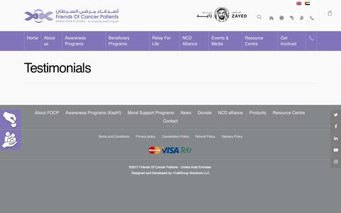 Screenshot of Testimonials Page focp.ae - Testimonials – FOCP - captured Dec. 19, 2018