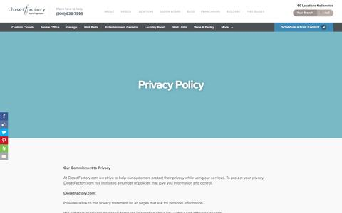 Screenshot of Privacy Page closetfactory.com - Privacy Policy - Closet Factory - captured May 18, 2017