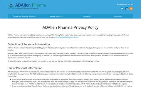 Screenshot of Privacy Page adallenpharma.com - ADAllen Pharma Privacy Policy - ADAllen Pharma - captured Oct. 2, 2018
