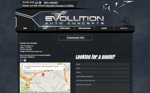 Screenshot of Contact Page Maps & Directions Page evolutionautoconcepts.com - Evolution Auto Concepts | Custom Auto Body Shop | Dallas Fort Worth | CONTACT US - captured July 17, 2016