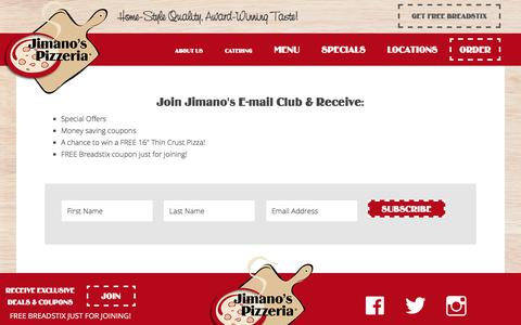 Screenshot of Signup Page jimanos.com - Newsletter - Jimano's Pizzeria - captured Oct. 16, 2017