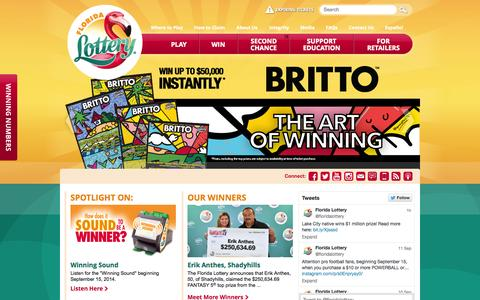 Screenshot of Home Page flalottery.com - The Florida Lottery - captured Sept. 18, 2014