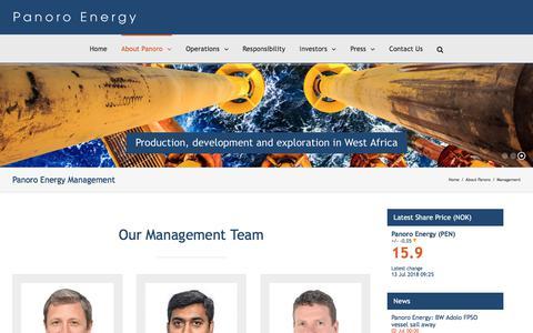 Screenshot of Team Page panoroenergy.com - Management | Panoro Energy - captured July 15, 2018