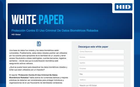Screenshot of Landing Page hidglobal.com - HID Global - WP - Protección Contra El Uso Criminal De Datos Biométricos Robados - captured June 6, 2018