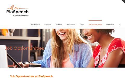 Screenshot of Jobs Page biospeech.com - Job Opportunities – BioSpeech - captured Oct. 5, 2018