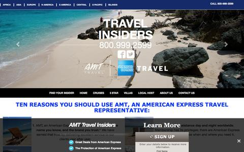 Screenshot of Home Page amt-travel-insiders.com - AMT Travel Insiders - Amt American Express Travel Insider Travel Offers - captured April 3, 2016