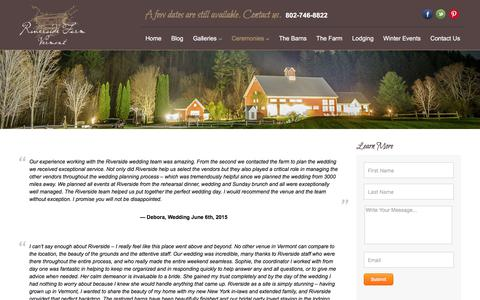 Screenshot of Testimonials Page riversidefarmweddings.com - Testimonials - Vermont Weddings - captured July 19, 2019