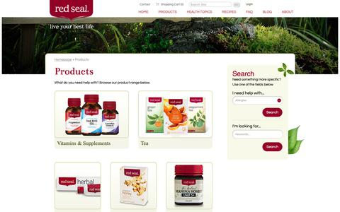 Screenshot of Products Page redseal.co.nz - Browse our Vitamins, Supplements, Teas, and Toothpaste | Red Seal - captured Oct. 19, 2018