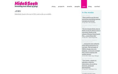 Screenshot of Jobs Page hideandseek.net - Jobs :              Hide&Seek - captured Oct. 2, 2014