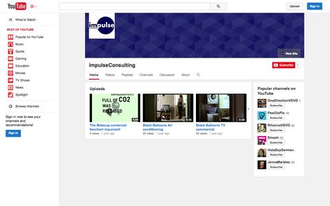 Screenshot of YouTube Page youtube.com - ImpulseConsulting  - YouTube - captured Oct. 23, 2014
