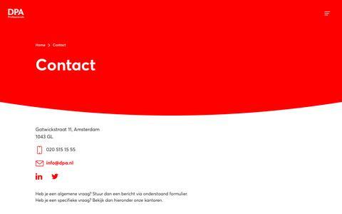 Screenshot of Contact Page dpa.nl - Contact | DPA - captured Oct. 6, 2018
