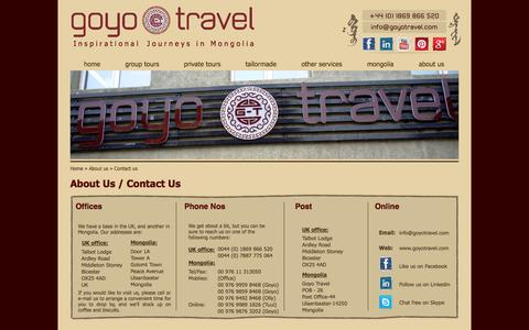 Screenshot of Contact Page goyotravel.com - Mongolia Tours & Holidays - Contact Us Today - Goyo Travel - captured Sept. 30, 2014