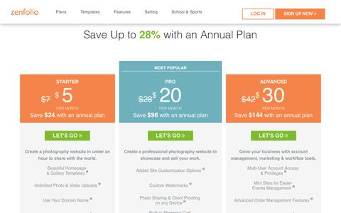 Screenshot of Signup Page Pricing Page zenfolio.com - Zenfolio - Plans - captured Aug. 31, 2017