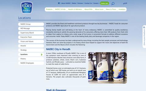 Screenshot of Locations Page nadec.com.sa - NADEC's office locations and local projects - captured Sept. 21, 2018