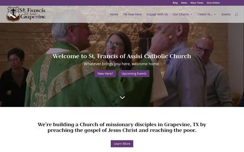 Screenshot of Home Page sfatx.org - HOME - St. Francis of Assisi - captured Oct. 23, 2017