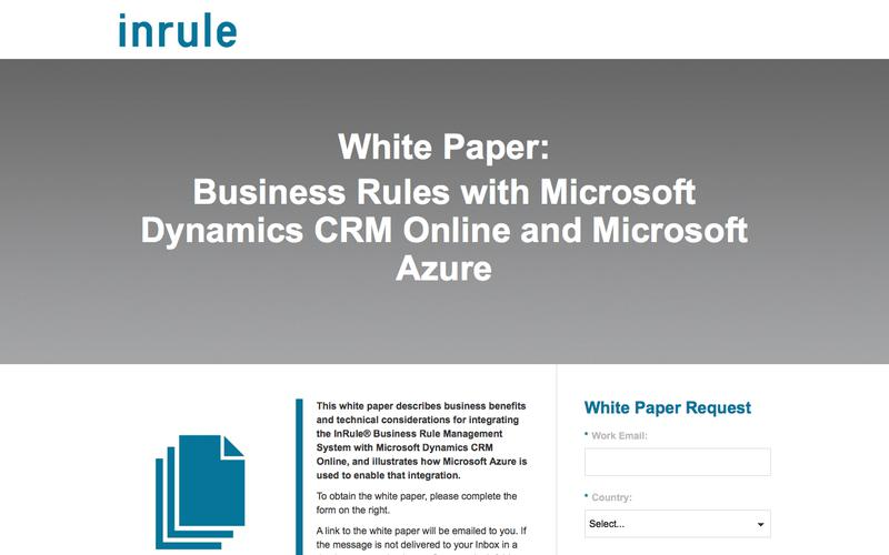 InRule White Paper -  Business Rules with Microsoft Dynamics CRM Online and Microsoft Azure