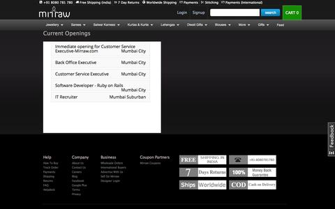 Screenshot of Jobs Page mirraw.com - Artificial Jewellery Online, Buy Fashion, Imitation Jewellery Online India - captured Oct. 1, 2015