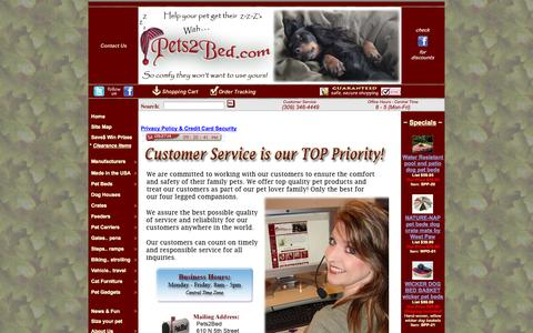 Screenshot of Contact Page pets2bed.com - Pets 2 Bed.com contact us information page - captured Sept. 29, 2014
