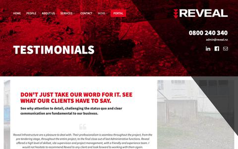 Screenshot of Testimonials Page reveal.nz - Testimonials - Reveal Infrastructure - captured Nov. 18, 2018