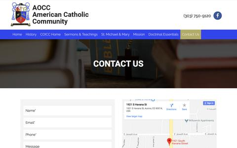 Screenshot of Contact Page aocc.org - Contact Us - AOCC American Catholic Community - captured June 29, 2018