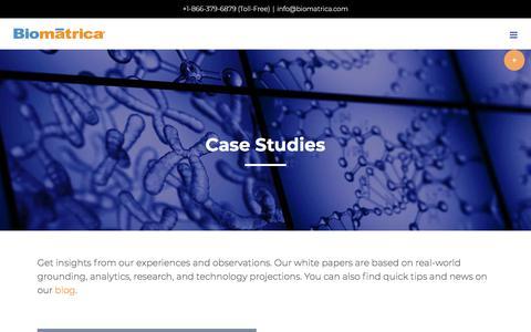 Screenshot of Case Studies Page biomatrica.com - Case Studies - Biomatrica - captured July 12, 2018