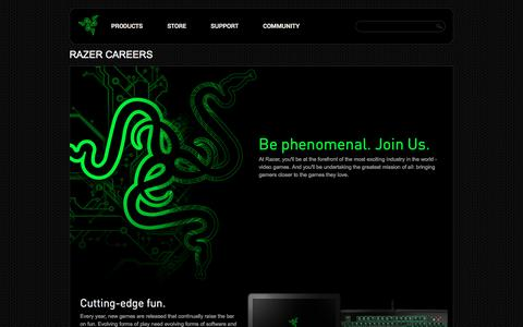 Screenshot of Jobs Page razerzone.com - Razer - Careers - captured Jan. 30, 2017