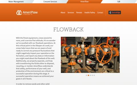 Screenshot of Services Page afenergy.net - Flowback | Crescent Ameriflow - captured Nov. 20, 2016