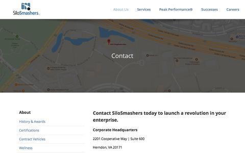 Screenshot of Contact Page silosmashers.com - Contact   SiloSmashers   Herndon, VA - captured Nov. 11, 2019