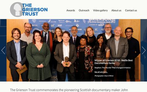 Screenshot of Home Page griersontrust.org - The Grierson Trust - Home - captured Nov. 18, 2018