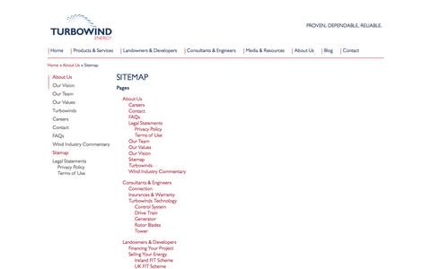 Screenshot of Site Map Page turbowindenergy.com - Turbowind Energy - Specialist in Medium Wind Turbines and Services - captured Aug. 4, 2015