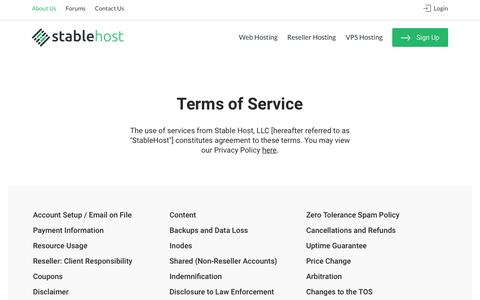 Terms of Service | StableHost