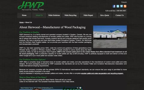 Screenshot of About Page hwppallets.com - About Us |  Manufacturer of Wooden Packaging > Pallets and Crates - captured Oct. 1, 2014
